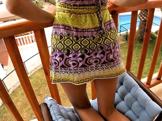 I don't know anything that could be compared with staring at cute playful teen babes exposing some of majority intimate, sweetest spots of their bodies or having fine sex with their boyfriends! This time is not the exception and now I recommend u to see the girl posing in her light sundress on balcony.