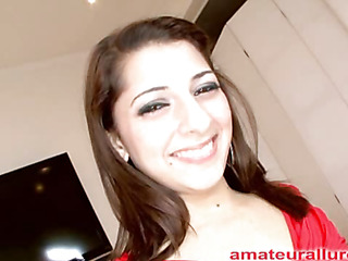 Pretty and energetic Abby blows rod and receives her face fucked merely to be bent over and receive her cum-hole pounded until this hottie is gratified then that hottie receives a huge cum facial to go with her large smile.