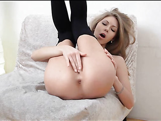 Sex appeal hottie showing delights and caressing juicy twat