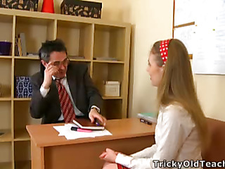 Cute babe came to the teacher's place and acceded to please him. The grand-dad pets her pinkish vagina.