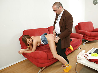 Old naughty teacher fills each single constricted gap of a bad student with his large firm jock.