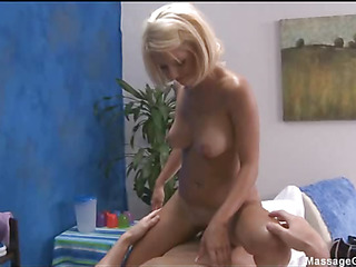 Hot and sexy blond 18 year old receives drilled hard doggystyle by her massage therapist