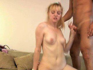 Sexy darling is giving man a wet oral-stimulation before riding it