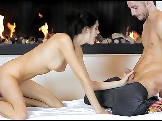 Stunning hotty giving great oral-job sex previous to vaginal insertion