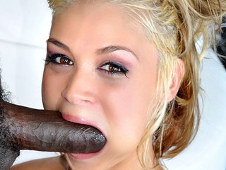 Cute blond is lascivious to engulf and fuck a large black 10-Pounder