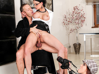 2 journalist moist cracks receive team-fucked in all holes by Rocco's pecker