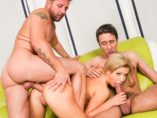 Wicked blond muff receives double jabbed by huge thick dicks!