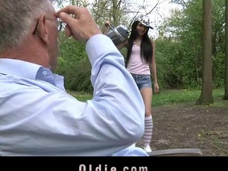 Nasty and playful Nataly Von seduces the old stud with sweet giving a kiss and intensive blow job stimulation. This Chick doesn't miss a drop of semen from her mouth.