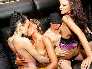 What happens when sexy college whores hang out in a night club? They fuck the hottest stripper!